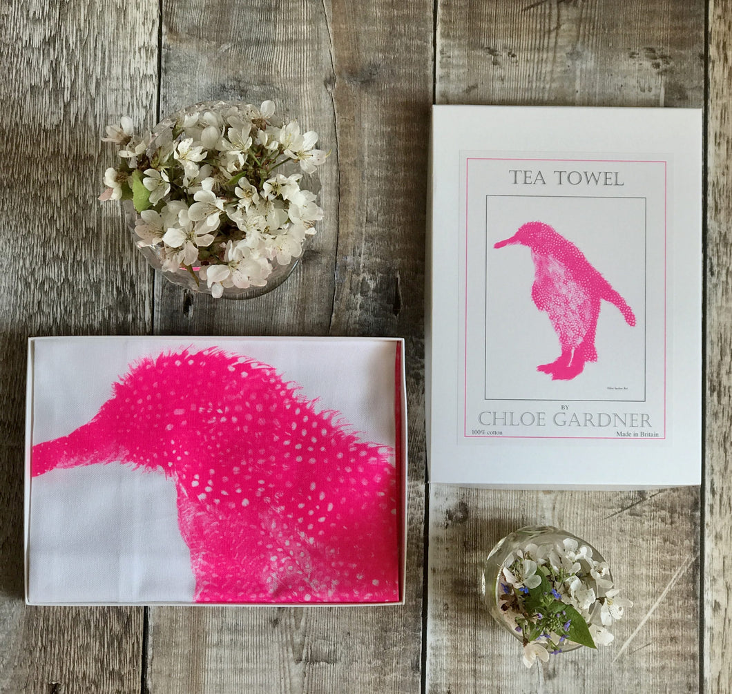 Fluoro pink penguin tea towel (in box)