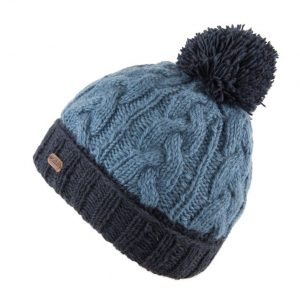 Bobble hat - cable turn up - navy