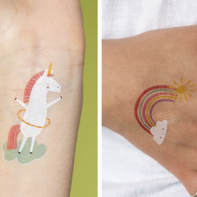 Load image into Gallery viewer, Magical unicorn temporary tattoos (2 sheets)