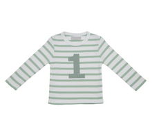 Load image into Gallery viewer, No 1 T-shirt - Seafoam & white breton stripe