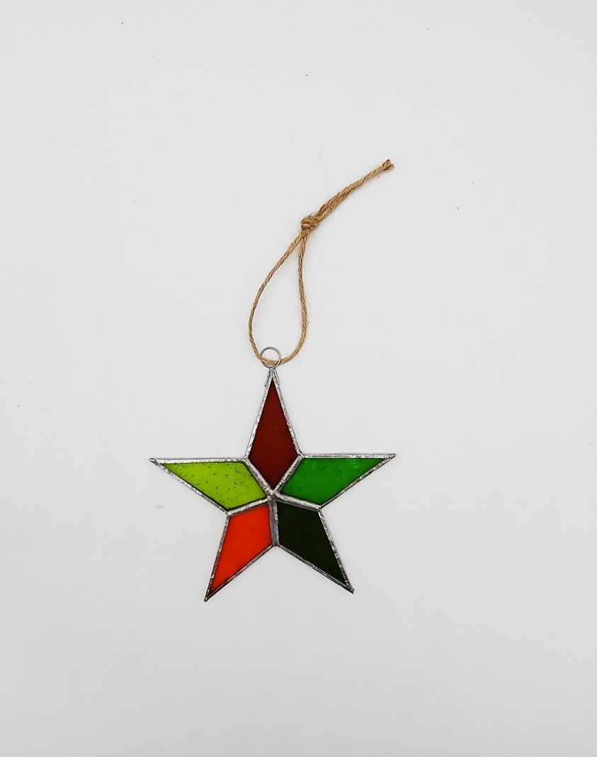 Handmade glass star - medium - orange/green