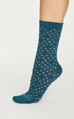Spotty bamboo socks - deep teal green