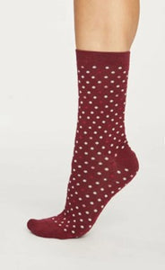 Spotty bamboo socks - bilberry red