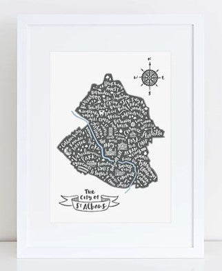 City of St Albans map grey map in white frame