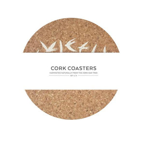 Cork coasters - swallows white - set of 4