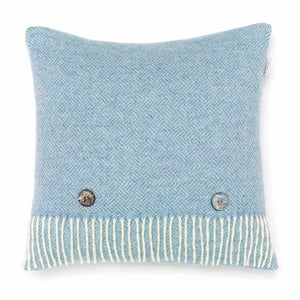 Herringbone cushion - aqua