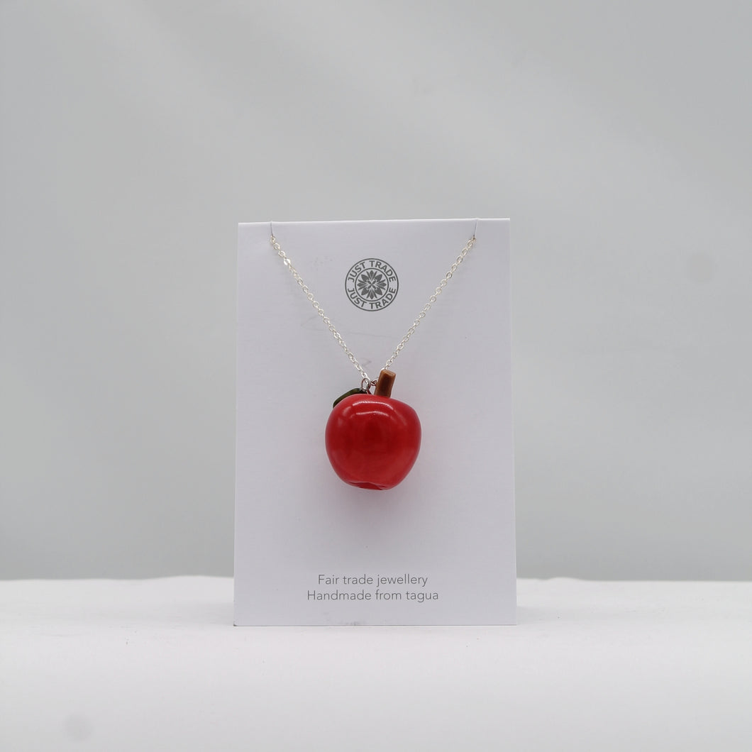 Tagua apple pendant necklace - red