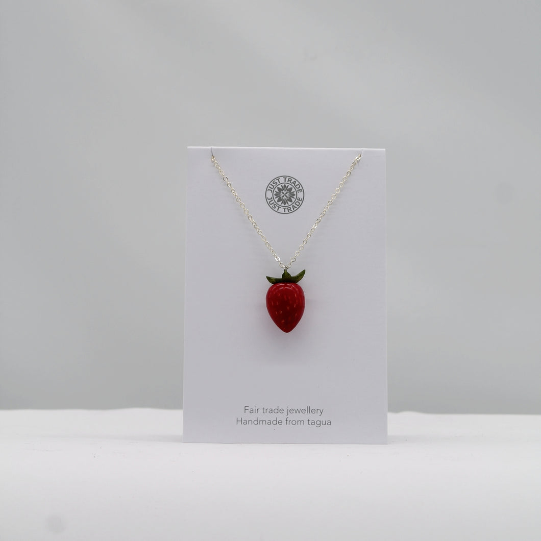 Tagua strawberry pendant necklace