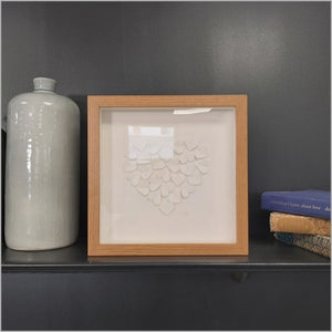 Handmade small oak frame medium white hearts in heart shape