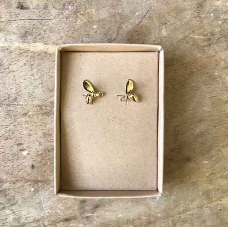 Nouveau winged insect earrings