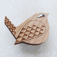 Load image into Gallery viewer, Cherry wood veneer wren brooch