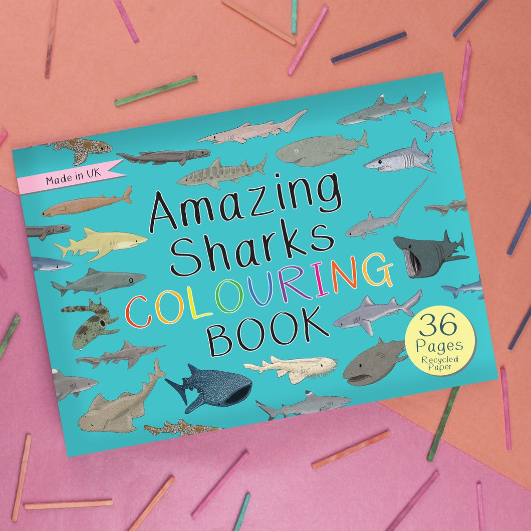 Amazing sharks colouring book