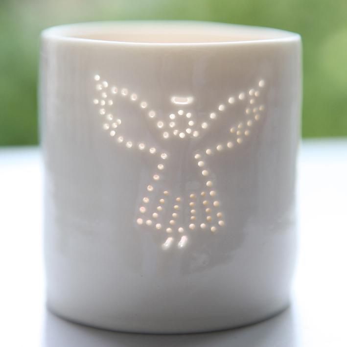 Porcelain mini tealight holder - Angel