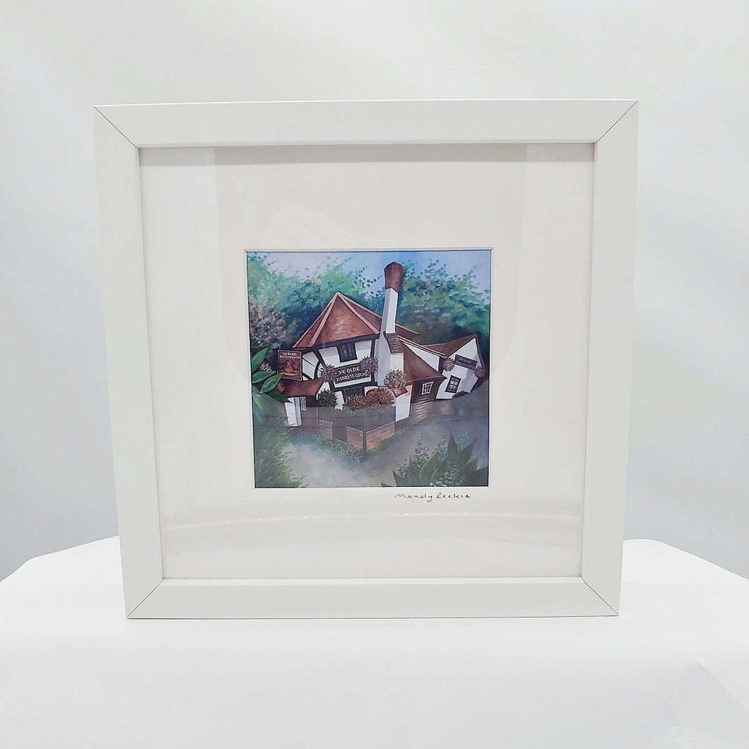 Ye Olde Fighting Cocks print in frame