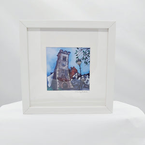 The Clock Tower print in a frame