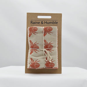 Recycled honey bee tea towel 2 pack - terracotta