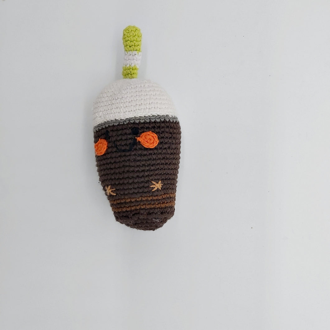 Crochet chocolate milkshake rattle
