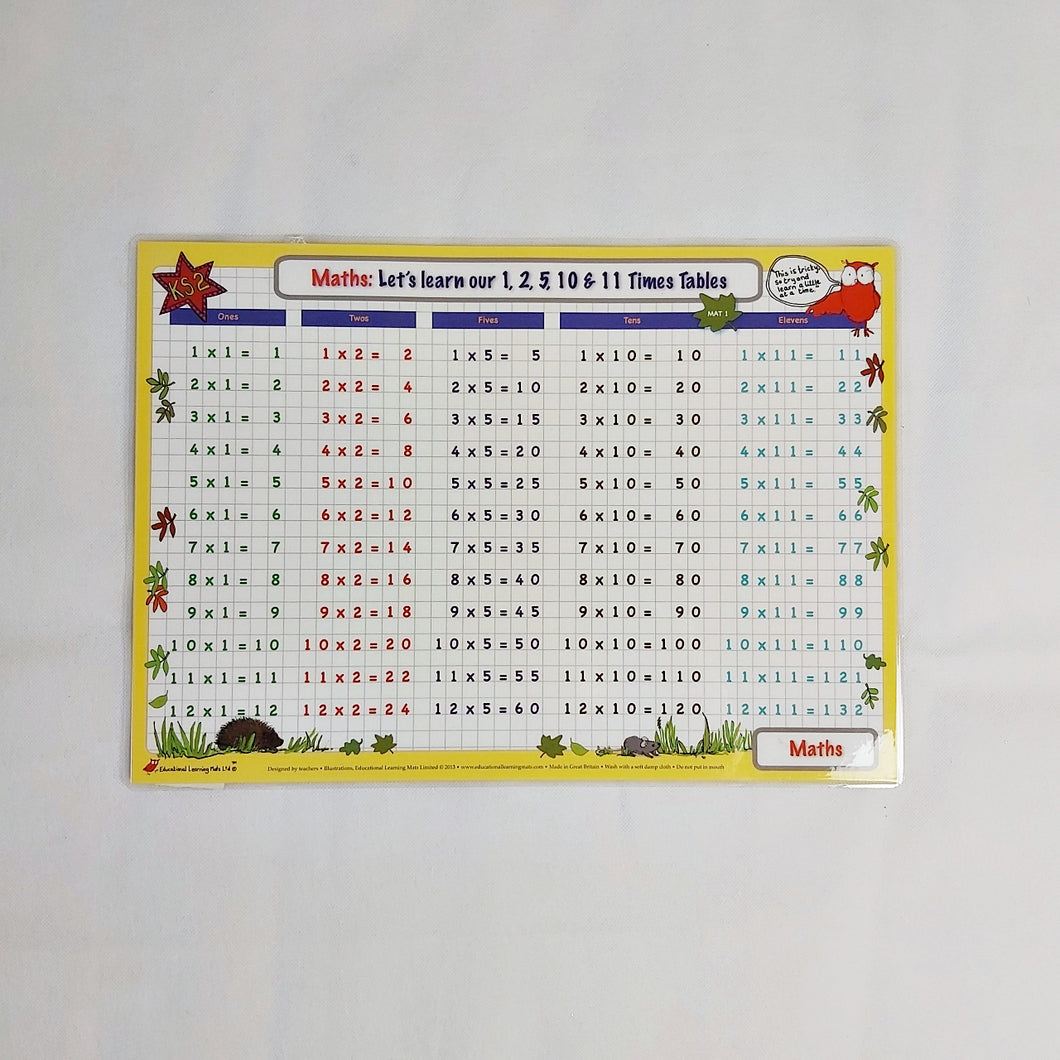 Times tables (1,2,5,10,11) Mat 1