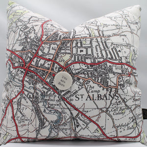 St Albans map cushions with feather filling