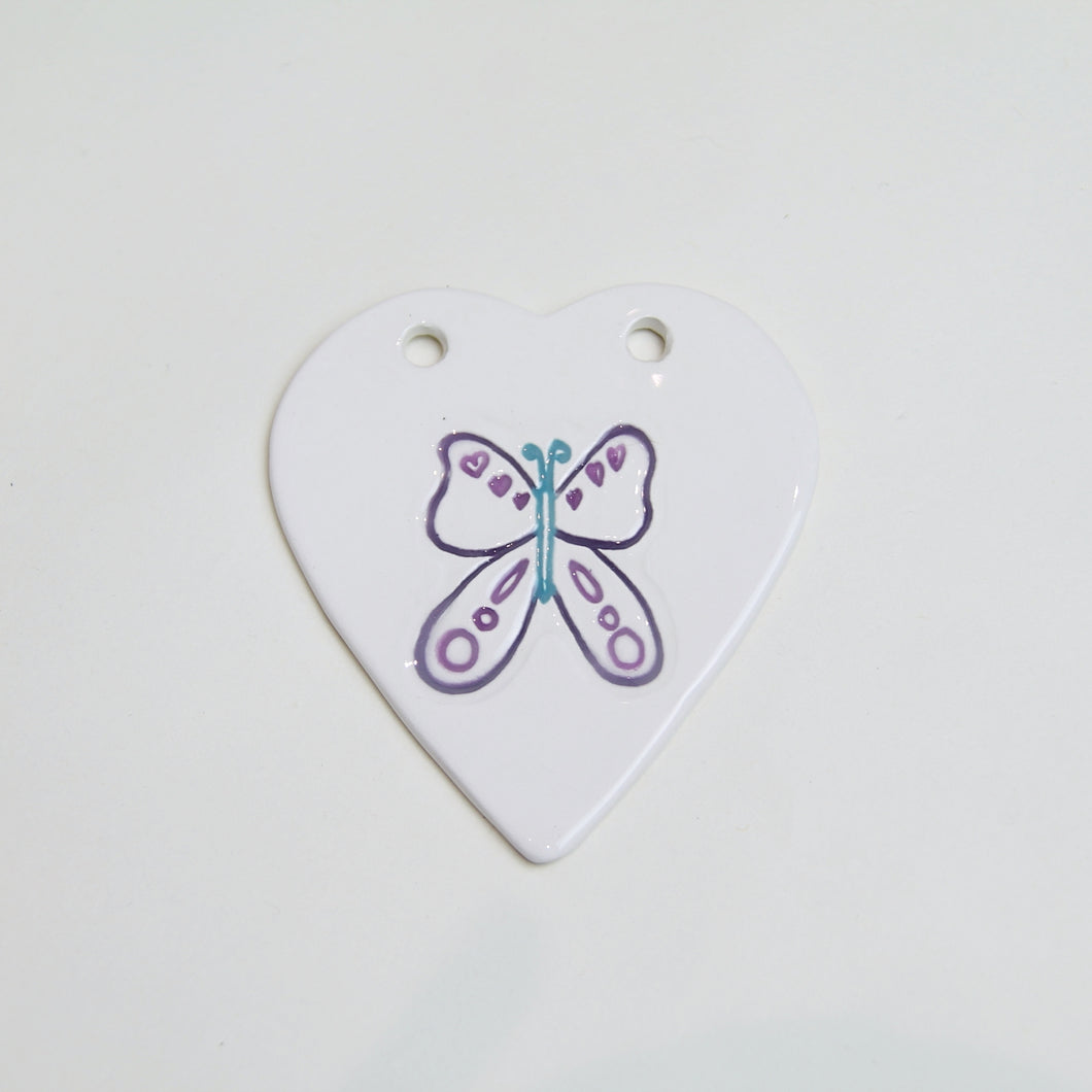 Butterfly handmade ceramic heart - purple/turquoise