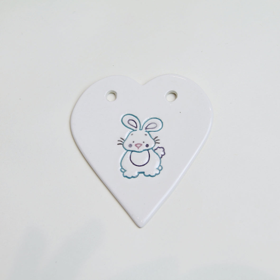 Bunny handmade ceramic heart - purple