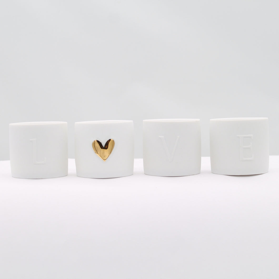Set of 4 LOVE tealights