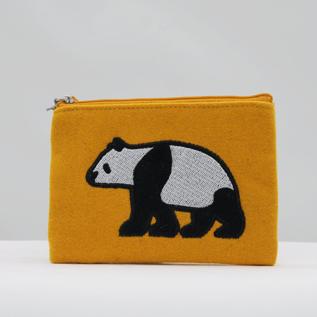 Felt panda purse - yellow