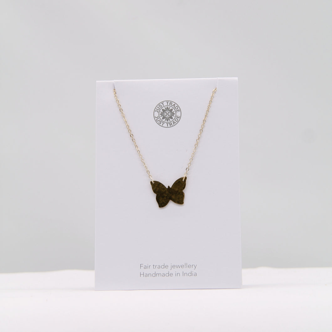 Hammered brass butterfly necklace