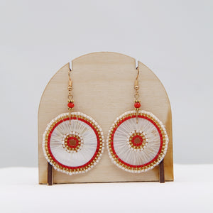 Sousta, red, circular beaded earrings