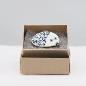 Animal brooch - hedgehog - white