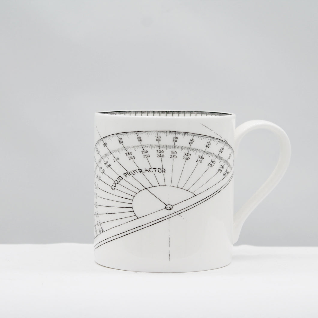 Line drawing protractor mug