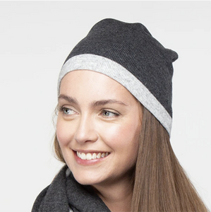 Bette cashmere beanie - charcoal/light grey