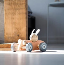 Load image into Gallery viewer, Wooden bunny racing car - pastel