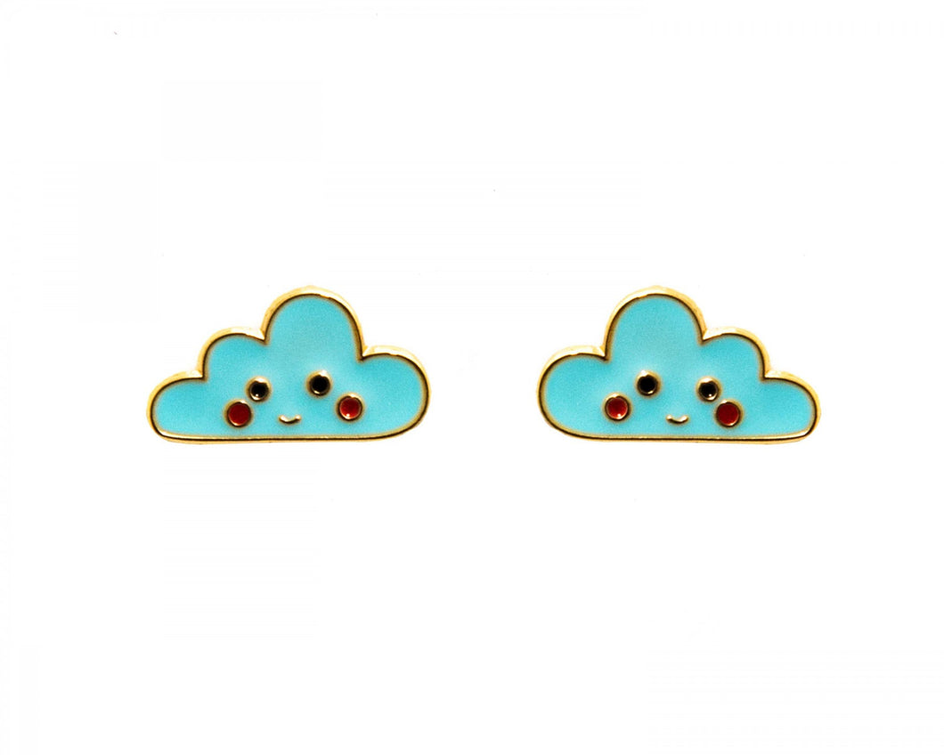 Clouds enamel earrings