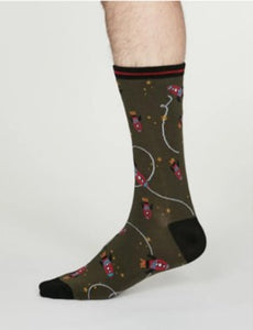 Cosmos rocket space bamboo socks - walnut grey