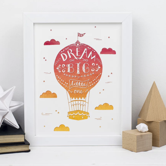 Dream big hot air balloon... orange A5 print & white frame