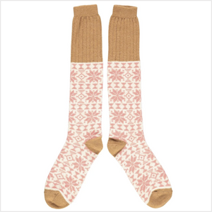 Lambswool knee socks - fair isle - blush/copper