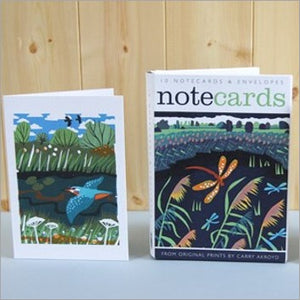 Hawker kingfisher notecards by Carry Akroyd