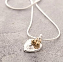 Load image into Gallery viewer, Organic silver heart pendant necklace with gold beads