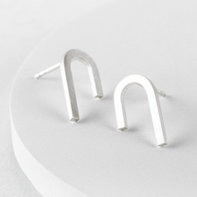 Load image into Gallery viewer, Silver rainbow studs earrings
