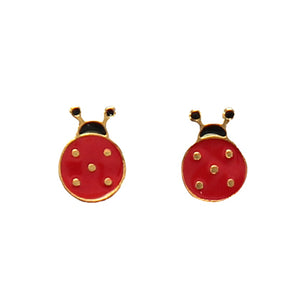 Ladybird enamel earrings