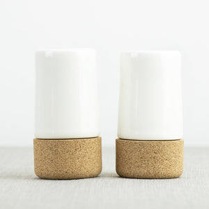 Earthware salt and pepper - cream