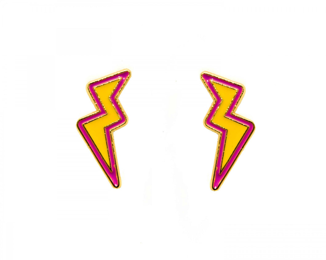 Lightening bolt enamel earrings