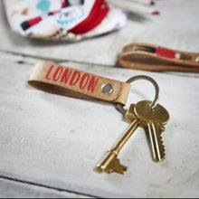 Load image into Gallery viewer, London Adventures Keyring - Recycled Leather