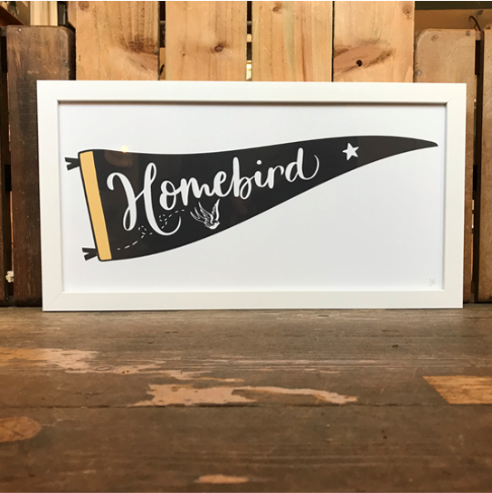Homebird pennant yellow framed print