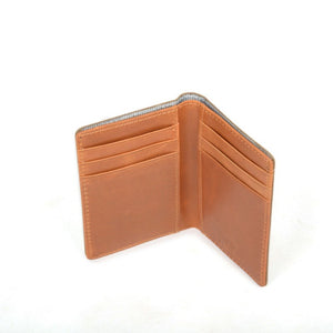 Leather card holder - navy blue