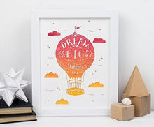 Load image into Gallery viewer, Dream big hot air balloon... orange A5 print & white frame