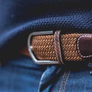 Plain woven belt - brown camel