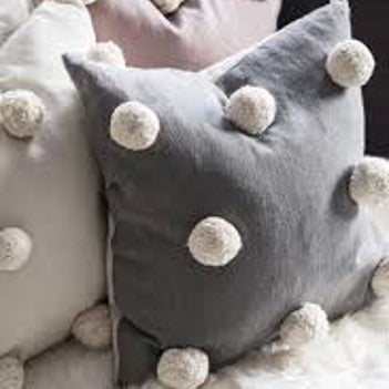 Giant pom pom cushion - grey