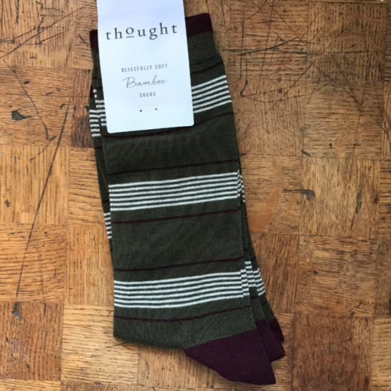 Edoardo bamboo striped socks - khaki green